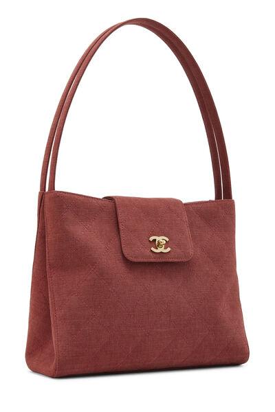 Red Quilted Canvas Shoulder Bag Large, , large
