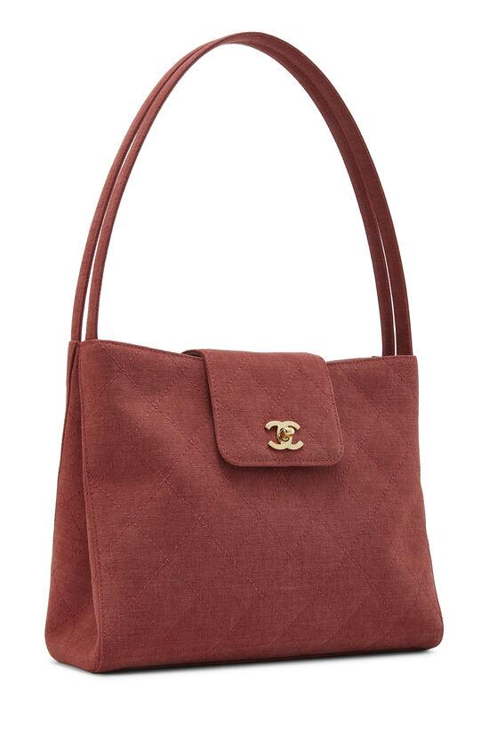 Red Quilted Canvas Shoulder Bag Large, , large image number 1