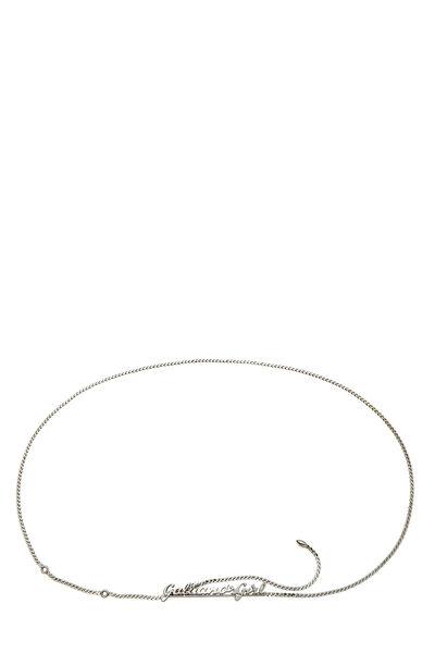 Silver Cursive Logo Chain Belt