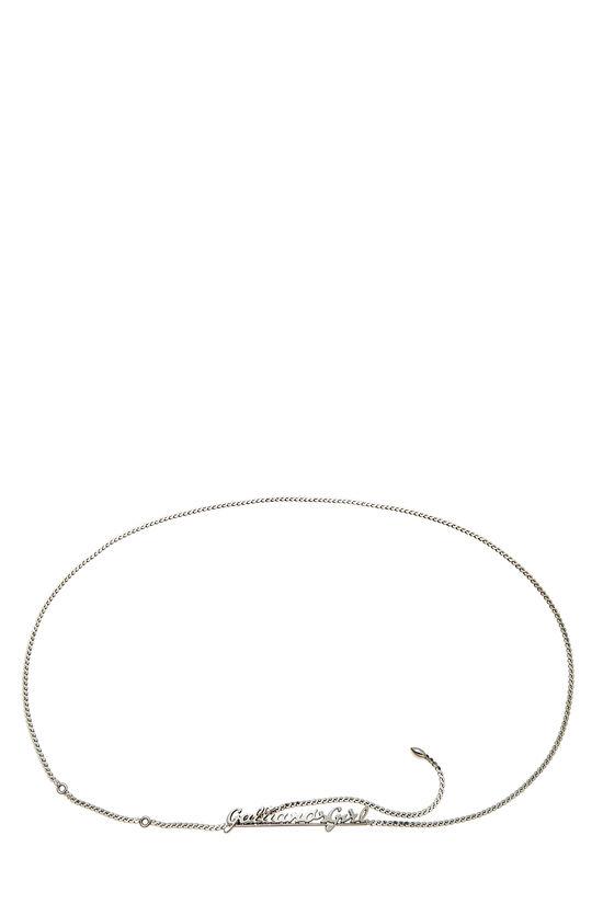 Silver Cursive Logo Chain Belt, , large image number 0