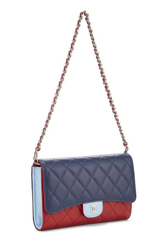 Red & Blue Quilted Lambskin Convertible Clutch, , large image number 1