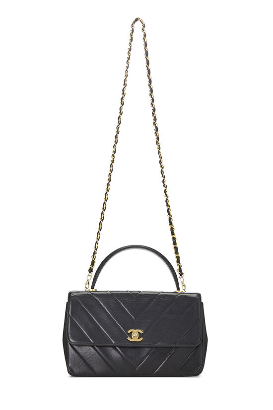 Black Chevron Lambskin Top Handle Bag, , large image number 6