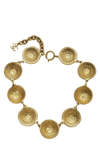 Gold Engraved Cambon Coin Choker, , large