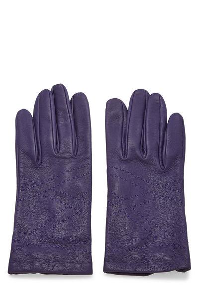 Purple Embroidered Lambskin Gloves