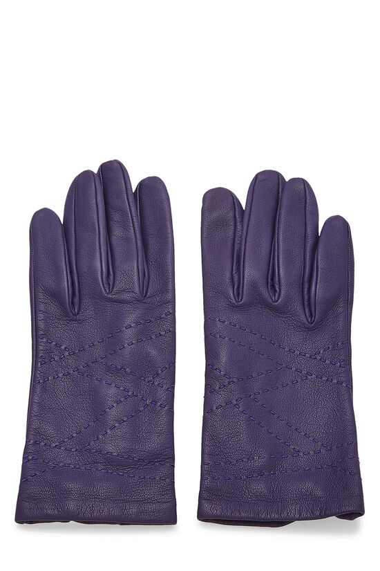 Purple Embroidered Lambskin Gloves, , large image number 0