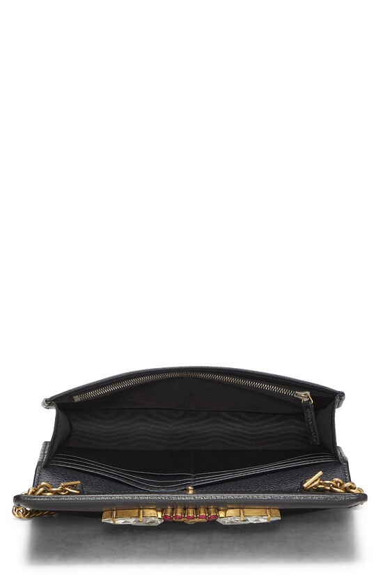 Black Leather GG Marmont Wallet on Chain Mini, , large image number 5