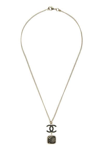 Gold & Black Lace 'CC' Necklace