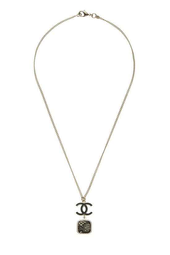 Gold & Black Lace 'CC' Necklace, , large image number 0