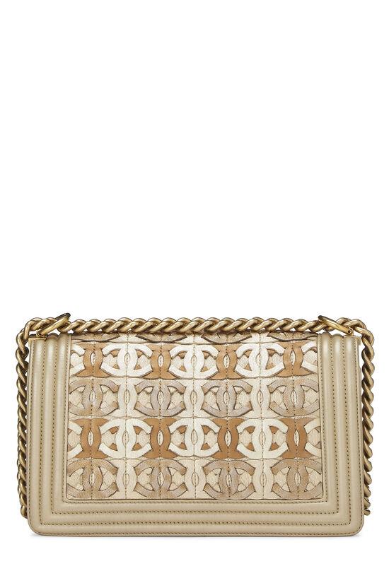 Paris-Dubai Gold Leather Woven 'CC' Boy Bag Medium, , large image number 4