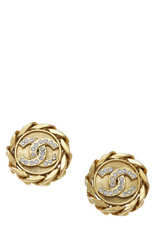 Gold & Crystal 'CC' Chain Border Earrings, , large image number 0