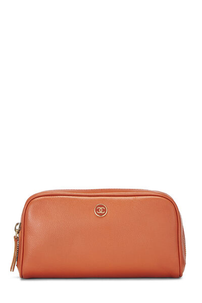 Orange Leather Cosmetic Pouch