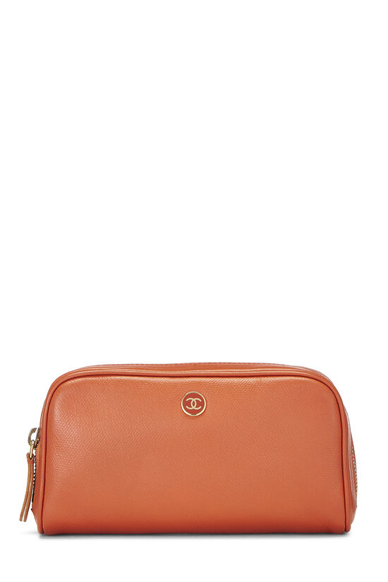 Orange Leather Cosmetic Pouch, , large image number 0