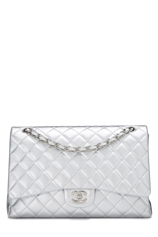 Metallic Silver Quilted Lambskin Classic Flap Maxi, , large image number 0