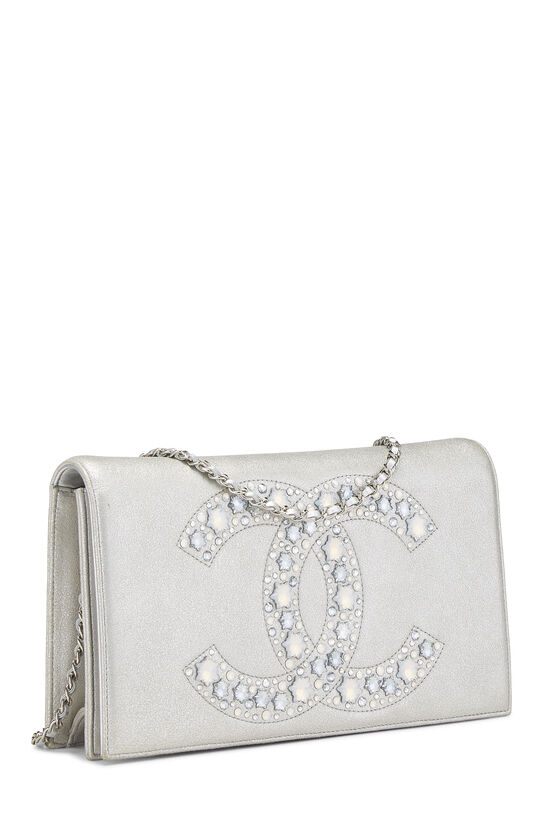 Metallic Silver Crystal 'CC' Full Flap Bag, , large image number 2