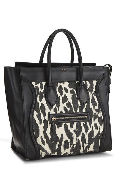 Black Calfskin & Animal Print Canvas Luggage Medium, , large