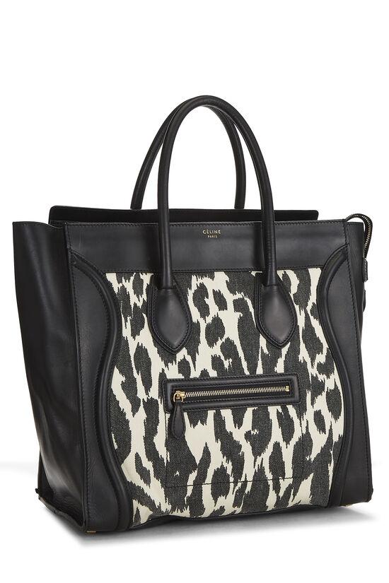 Black Calfskin & Animal Print Canvas Luggage Medium, , large image number 1