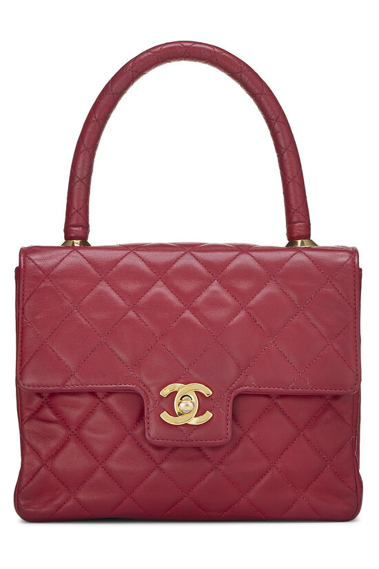 Burgundy Quilted Lambskin Top Handle Small, , large image number 0