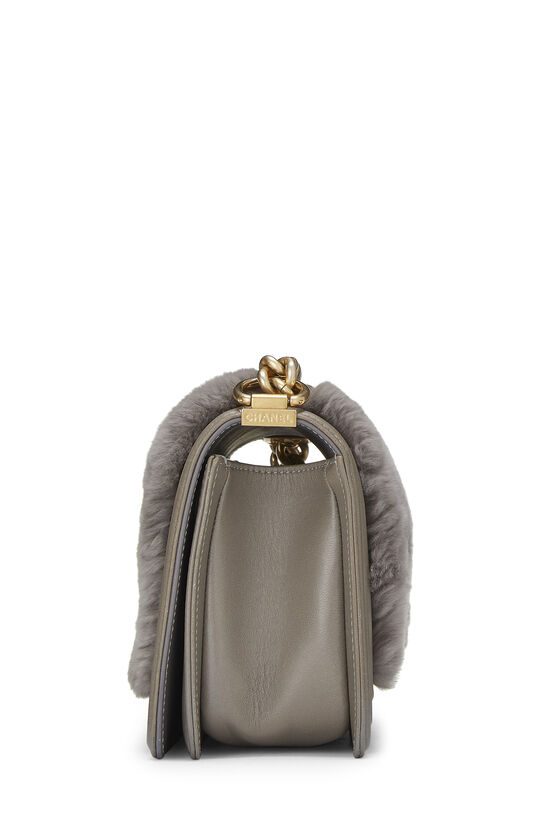 Grey Fur & Calfskin Boy Bag Medium, , large image number 3