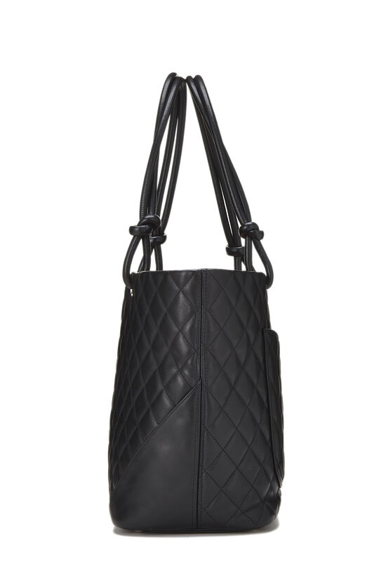 Black Quilted Calfskin Cambon Tote Large, , large image number 2