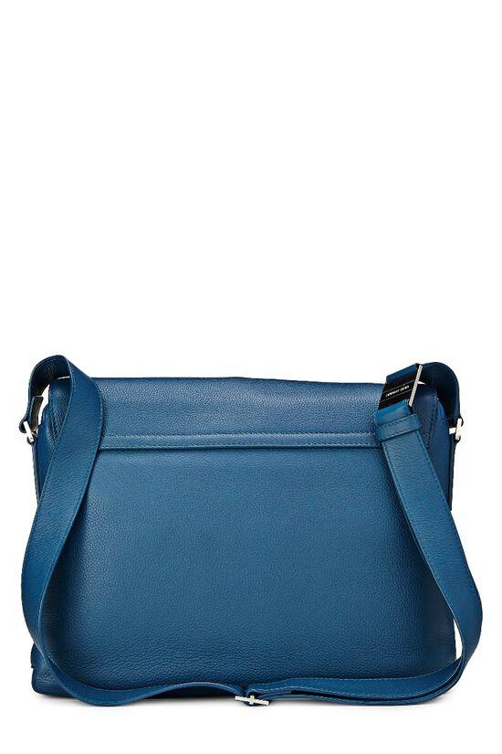 Homme Blue Leather Messenger Bag, , large image number 3