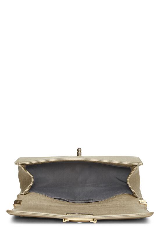 Paris-Dubai Gold Leather Woven 'CC' Boy Bag Medium, , large image number 6