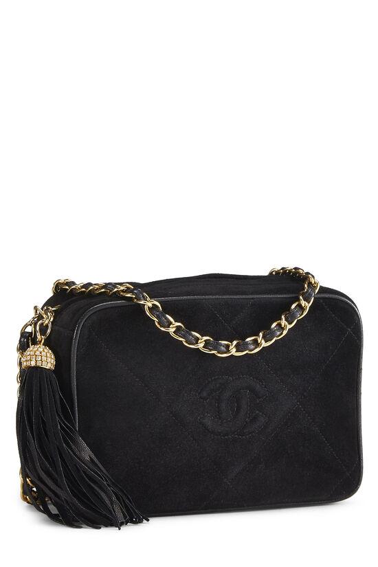 Black Suede Diamond 'CC' Camera Bag Mini, , large image number 1