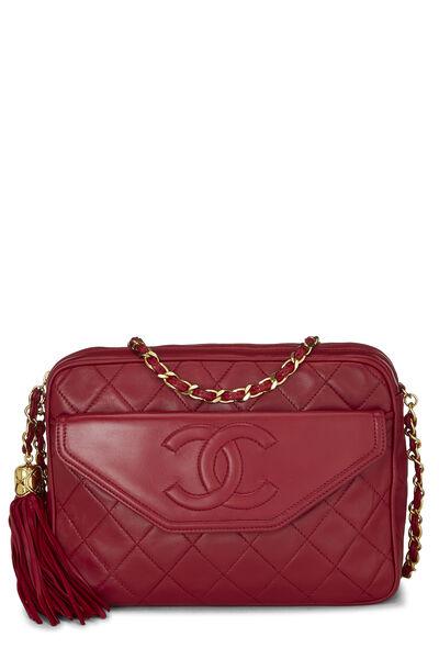Red Lambskin Pocket Camera Bag Medium