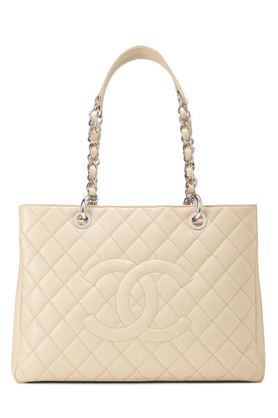 Beige Quilted Caviar Grand Shopping Tote (GST)