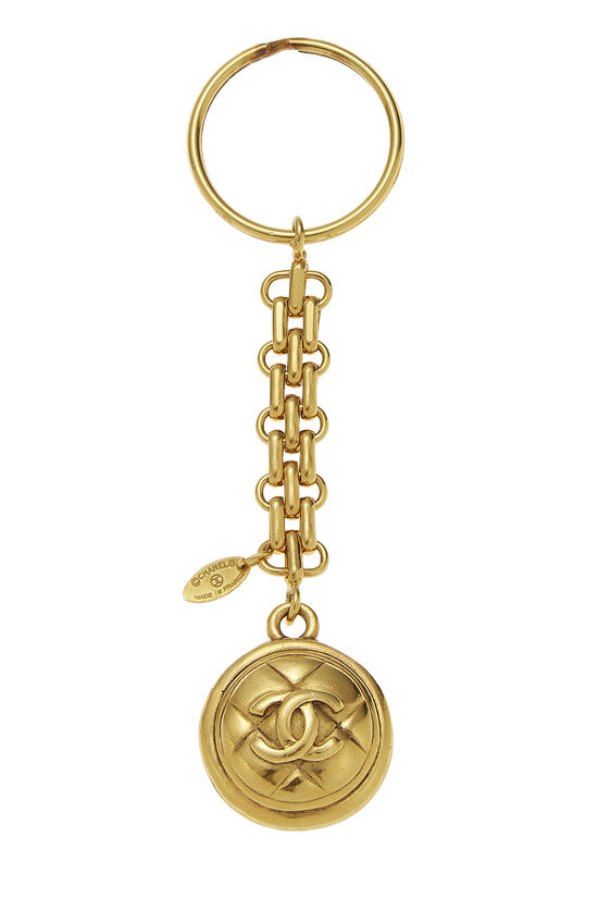 Gold Quilted 'CC' Keychain, , large image number 0