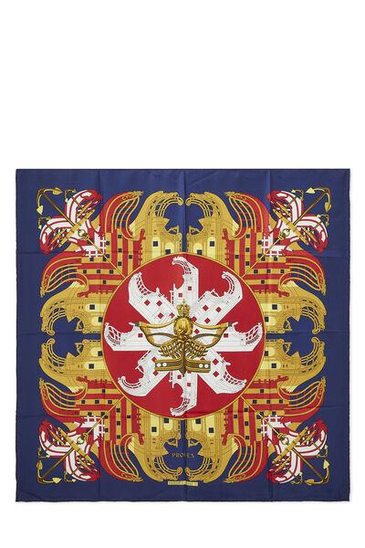 Navy & Multicolor 'Proues' Silk Scarf 90