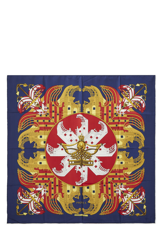 Navy & Multicolor 'Proues' Silk Scarf 90, , large image number 0