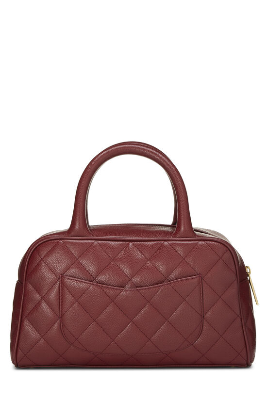 Burgundy Quilted Caviar Bowler Mini, , large image number 3