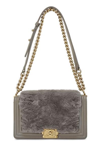 Grey Fur & Calfskin Boy Bag Medium, , large