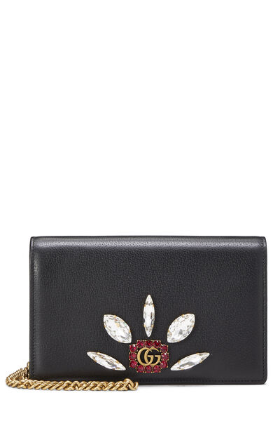 Black Leather GG Marmont Wallet on Chain Mini
