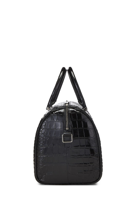 Black Embossed Leather Convertible Boston Bag, , large image number 3