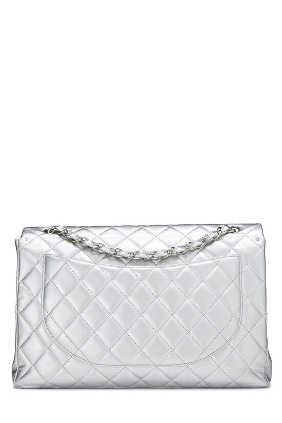 Metallic Silver Quilted Lambskin Classic Flap Maxi, , large image number 3