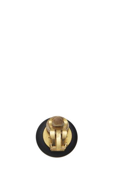 Black 'CC' Enamel Button Earrings, , large