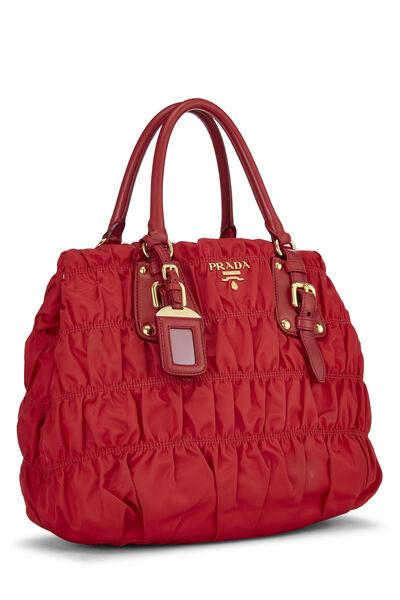 Red Nappa Gaufre Shoulder Bag, , large