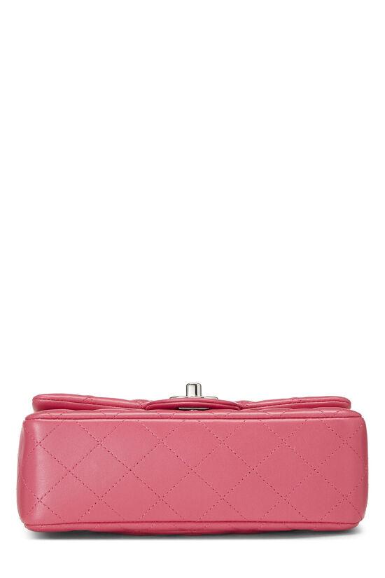 Pink Quilted Lambskin Rectangular Flap Mini, , large image number 4