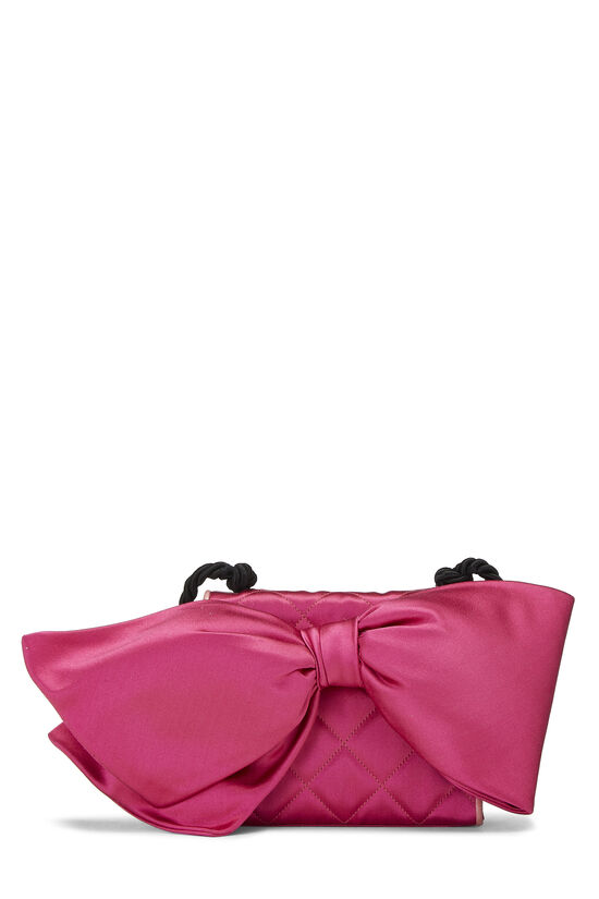 Pink Quilted Satin Bow Bag, , large image number 4