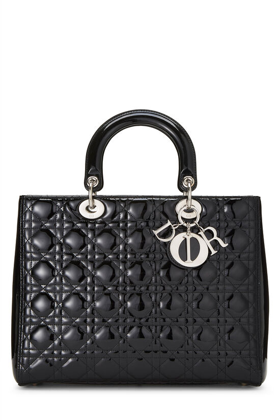 Black Cannage Quilted Patent Lady Dior Large, , large image number 0
