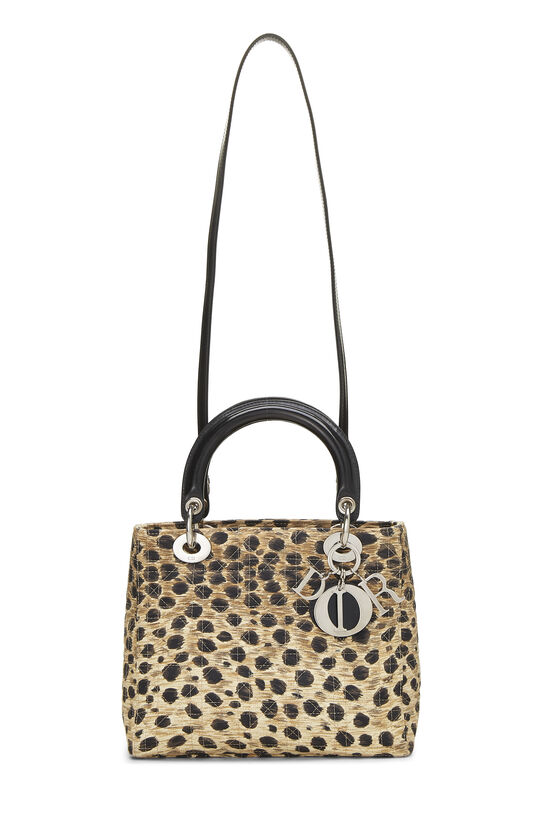 Brown Animal Print Cannage Quilted Nylon Lady Dior Medium, , large image number 6