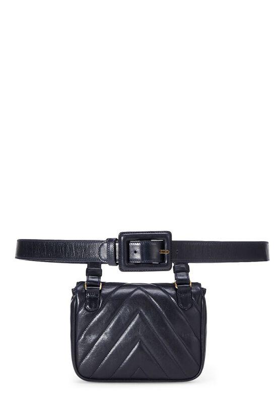 Black Lambskin Chevron Belt Bag, , large image number 3