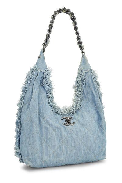 Blue Fringe Denim Hobo Bag, , large