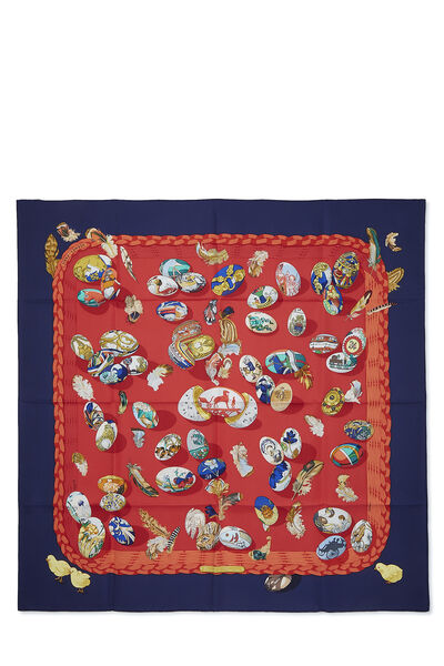 Red & Multicolor 'Couvee d'Hermes' Silk Scarf 90