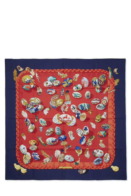 Red & Multicolor 'Couvee d'Hermes' Silk Scarf 90, , large image number 0
