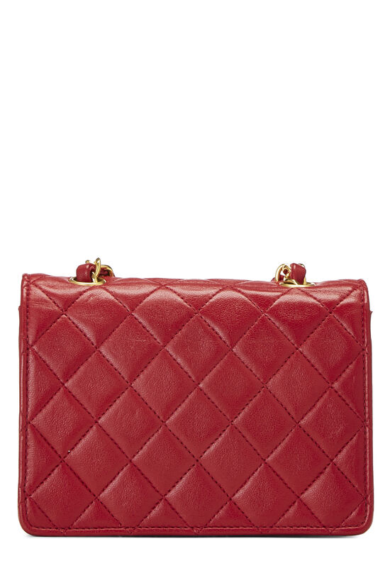 Red Quilted Lambskin Half Flap Micro, , large image number 3