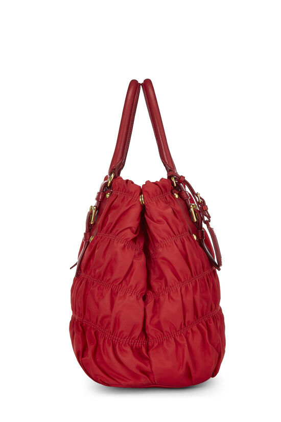 Red Nappa Gaufre Shoulder Bag, , large image number 2
