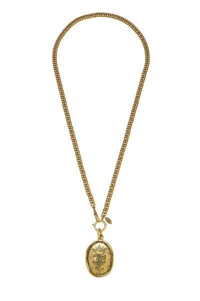 Gold Oval Crown Necklace Large