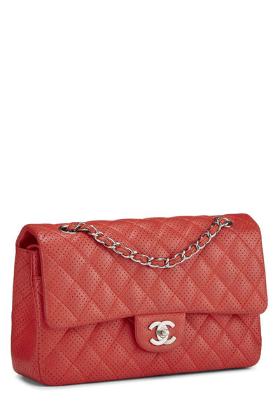 Red Perforated Lambskin Classic Double Flap Medium, , large